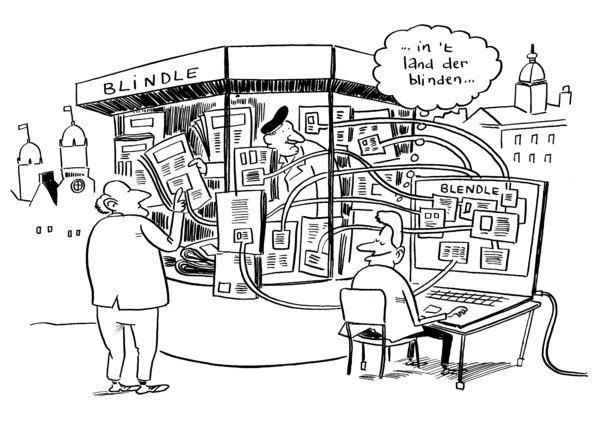 Cartoon Blendle: machine die krantenkoppen steelt uit kiosk met als opschrift 'Blindle', gedachtenballon '...in het land der blinden'